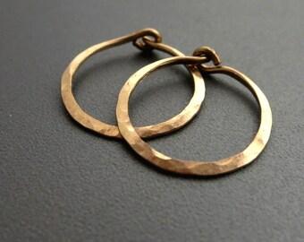 "Hammered Gold Earrings 3/4""D Small 14K Gold Filled Hoop Earrings"