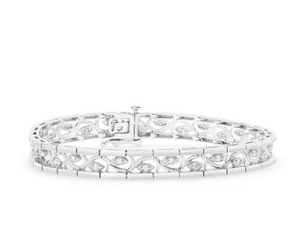 1/2 Carat Diamond Bracelet with Curved Inlay Eye - 14K White Gold Tennis Bracelet 7.25 inches
