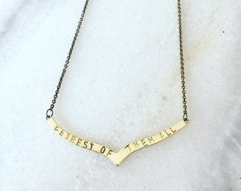 Fairest of Them All Hand Stamped Necklace Disney Snow White Disneyland Evil Queen