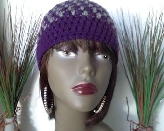Purple and Gray Beanie Hat, Crochet Hat, Beanie Hat, Handmade Hat, Crochet Beanie Hat, Crochet Cap, Winter Beanie, Crochet, Handmade, Gift