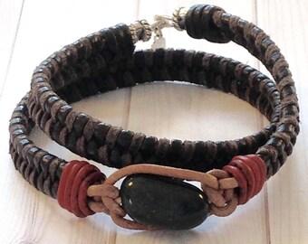 Mens Bloodstone DAVID the SHEPHERD-Leather Wrap Bracelet-Herringbone Weave/Sterling Accents