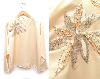 80s Cream Embellished Sequin Blouse Beaded Women's NOS Dead Stock Large 14 Long Sleeved