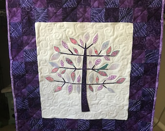 Beautiful Tree of Life Quilted Appliqued Wall hanging, with free motion quilted circles, choose your colors!