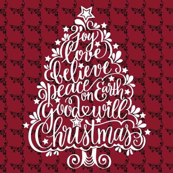 Christmas Word Tree Swirl Lettering T-shirt Card SVG DXF