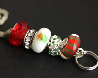 Christmas Tree Lanyard. Badge Lanyard. Holiday Lanyard. Badge Holder. Red and Green Lanyard. ID Lanyard. Badge Necklace. Christmas Lanyard.