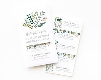 Personalized Return Address Labels   Custom Return Address Labels Set of 30 : Garden Wreath Personalized Address Labels