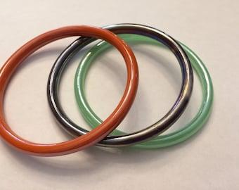 Lot of Three Glass Bangle Bracelet