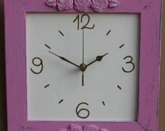 Shabby Chic Wall Clock Dark Pink & Cream  wall Decor