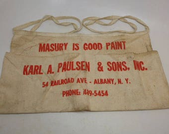 Vintage Work Apron Advertising Work Apron - Tool Apron - Nail Apron - Canvass Apron