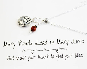 Charm Necklace - Follow Your Heart Charm Necklace - Mantra Necklace - Finding Your Way - SCC888