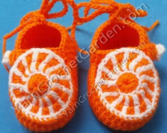 Orange Baby Booties Crochet Pattern Guide Baby Shower Gifts