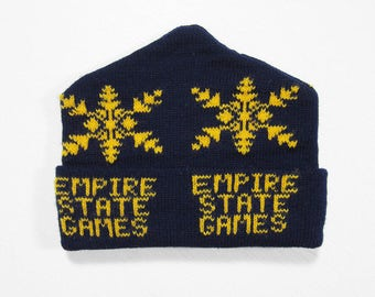 Vintage Empire State Games Knit Hat Navy Blue 1980 Olympics Winter Cap Lake Placid NY