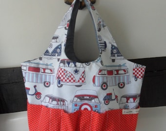 Market Tote Shopping Bag - Mod style fabric