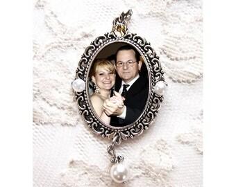 Silver Photo Charm w/pearl & rhinestone. Necklace Pendant or Wedding Bouquet Photo Charm. CUSTOM Oval #2p. Memorial Photo Jewelry. Valentine