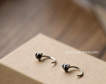 925 sterling silver open hoop earrings huggie hoop  cz stud 1 pair womens earrings