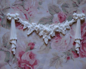 New! Gorgeous! Rose Swag with Bow Drops Set  Furniture Applique Architectural Pediment Shabby Chic