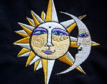 Golden Sun and Silver Moon Embroidered Quilt Block Square