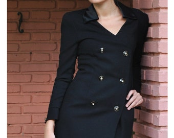 25% OFF Coupon - 90s Career Dress Coat - Vintage 1990s Dress Classy Sexy Little Black Dress S M