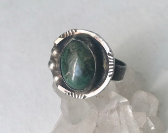 vintage sterling and dark green turquoise artisan ring, size 7.75