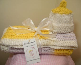 Knit/crochet baby blanket yellow, beige and white color block receiving blanket NEW ITEM!!!!   FREE  knit baby hat with purchase