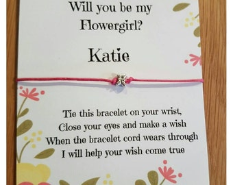 Handmade Flowergirl / Bridesmaid  / Maid of Honour / Hen Night / Party / Friendship / Wish Bracelets party favours