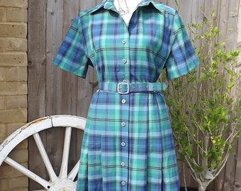Size 12/14 - 1950's vintage blue and green check dress.