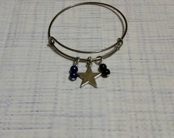Thin blue line bracelet, memorial bangle, law enforcement jewel, gunmetal bangle, charm bracelet, charm bangle, expandable bangle, ooak