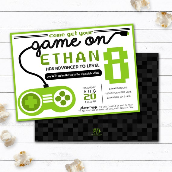 Video Game Invitation Gamer Party Invitation Video Game