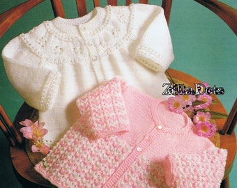 Baby Knitting Pattern - Round necked cardigans in 2 styles. Knitted in 4 & 6 ply yarns. to fit 41-46 cm chest.