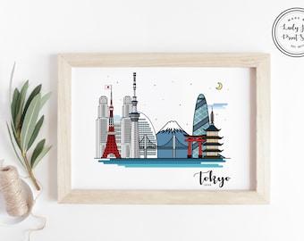 Tokyo, Japan Skyline - Japan print, Tokyo print, Japan poster, Wall art, cityscape, City poster, Gift, Home Decor, Travel Poster