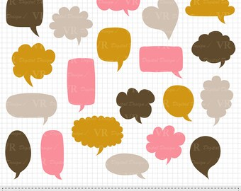 Speech Bubbles Clipart, Hand drawn Word Bubbles Clipart, Brown Pink Yellow Digital Chat Bubbles, Thought Bubble, Dialog Bubble, Vector