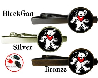 Grateful Dead tie clip bar tack, tie clips, custom tie clip, rock band,  husband gift, cufflinks cuff link, custom tie pin, groom groomsmen