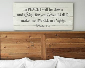 In peace I will lie down and sleep | Psalm 4:8 | Bedroom wall decor | Extra Large Wall Art | Comforting sign | Sign above bed | Scripture