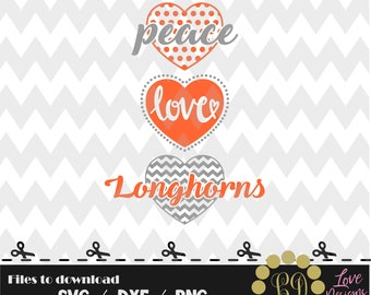 Peace Love Longhorns svg,png,dxf,shirt,jersey,football,college,university,decal,proud mom,texas,files cricut,dallas,decal,ncaa,basketball