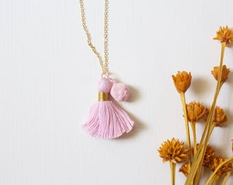 Ballet Pink Pompom Tassel Necklace - Girl's Necklace, Child's Necklace, Kid's Necklace, Tassel Necklace, Girl Party Favor, Birthday Jewelry