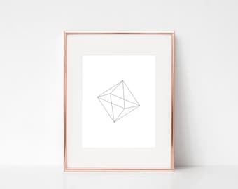 Minimalist Diamond Geometric Wall Art, Modern Printable Art, Modern Geometric Printable Poster, Modern Geometric Digital Print, Diamond Art