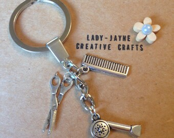 Hairdressers keyring. Hairdrier. Comb. Scissors. Unique handmade hairdressers gift. Hair salon. Christmas gift for hairdresser