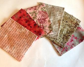 Fabric Fat quarter Bundle Renaissance Roses Script 6 Pieces