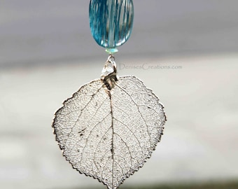 Silver Aspen Electroplated Leaf Christmas Ornament by Denise Sloan