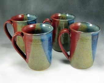 Large Pottery Mug Blue Red and Yellow 4 mug Set Ceramic Coffee Mug Set 16 Ounce Mug Hand Thrown Stoneware Pottery Mug