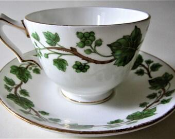 Staffordshire England Tea Cup Saucer Bone China Flower Gold Trim Green Ivy Leaf Vine Flower Floral Rare Set