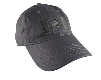 Canadian Flag Charcoal Embroidery Design on a Charcoal Adjustable Unstructured Baseball Cap Dad Hat for a Tone on Tone Fashion Look