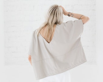 Leather blouse - Sand color blouse -Hand made leather blouse  - Light Leather blouse - Oversize blouse - Minimalist Blouse