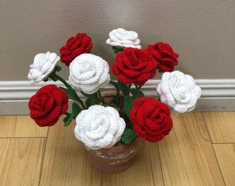 Handmade crochet roses