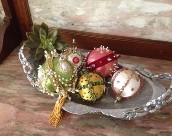 Vintage 60s Beaded Christmas Ornament Collection of 5 Sequin, Pearl, Pin Hand Decorated Satin Ball Gold, Green, White Pink