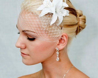 White Birdcage veil Blusher - FlOWER NOT INCLUDE