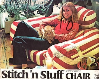 Butterick 0101 1970s Stitch N Stuff  Easy CHAIR Pattern Vintage Furniture Sewing Pattern  Great for Childs Teens Rec Dorm Family  Room UNCUT