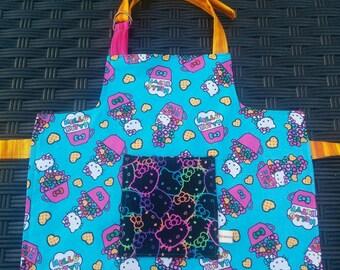 Kids Apron Hello Kitty Reversible Girls Apron Kids Art Smock Toddler Apron Hello Kitty Apron Handmade Apron 2T-4T