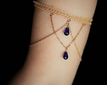 Upper Arm Band Gold | Adjustable | Boho Armlet with Blue Crystals