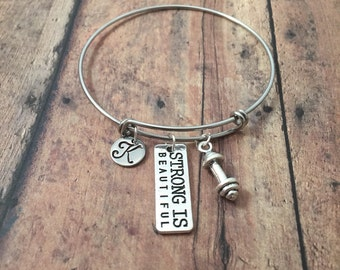 Weight lifter initial bangle - workout jewelry, weight lifter jewelry, fitness jewelry, gift for weight lifter, silver barbell bracelet